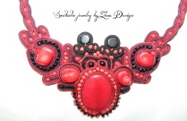 coral red soutache necklace (7)