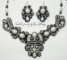 "Necklace Black and white - Mademoiselle"" Soutache (23)"