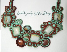 colier soutache Mint & Chocolate 1.