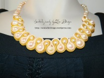 necklace soutache pearls - yellow (65)