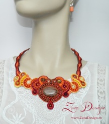 brown and orange soutache necklace OZI (47)