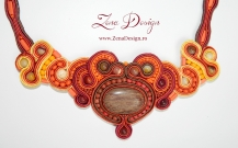brown and orange soutache necklace OZI (50)