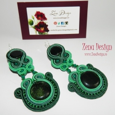 soutache earrings emerald green(101)