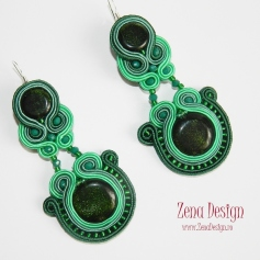 soutache earrings emerald green(104)