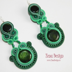 soutache earrings emerald green(105)