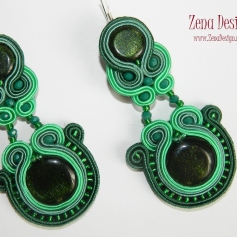 soutache earrings emerald green(108)