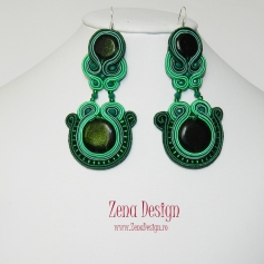 soutache earrings emerald green(112)