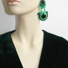 soutache earrings emerald green(118)