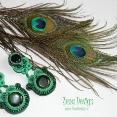 soutache earrings emerald green(123)