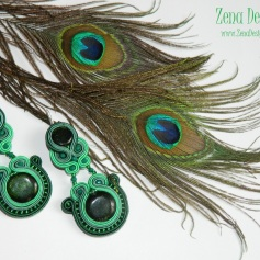soutache earrings emerald green(124)