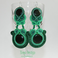 soutache earrings emerald green(130)
