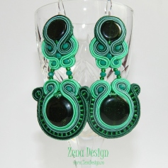 soutache earrings emerald green(132)