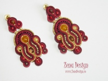 soutache earrings magenta with golden (19)