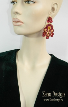 soutache earrings magenta with golden (5)