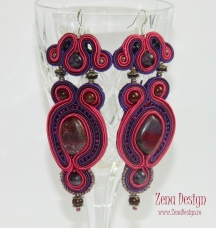 soutache earrings purple with magenta (39)