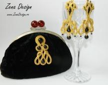 clutch negru catifea cu auriu si cercei candelabru (38)