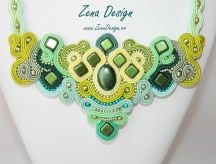 Emerald green soutache necklace (2)