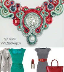 rosu si gri colier, gray and red necklace (inspiration)